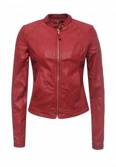 Куртка кожаная, Alcott, цвет: красный. Артикул: AL006EWRAV44. Женская одежда / Верхняя одежда / Кожаные куртки