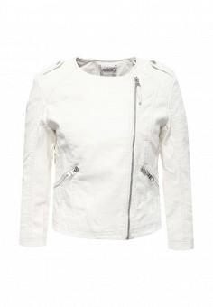 Куртка кожаная, Alcott, цвет: белый. Артикул: AL006EWRAV49. Женская одежда / Верхняя одежда / Кожаные куртки