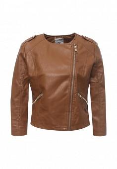 Куртка кожаная, Alcott, цвет: коричневый. Артикул: AL006EWRAV51. Женская одежда / Верхняя одежда / Кожаные куртки
