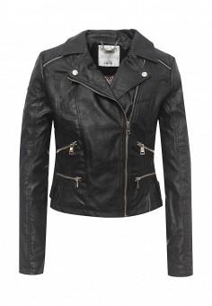 Куртка кожаная, Alcott, цвет: черный. Артикул: AL006EWRAV52. Женская одежда / Верхняя одежда / Кожаные куртки