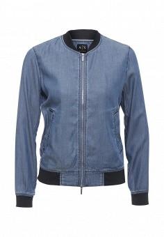 Куртка джинсовая, Armani Exchange, цвет: синий. Артикул: AR037EWPWS22. Женская одежда / Тренды сезона / Летний деним / Джинсовые куртки