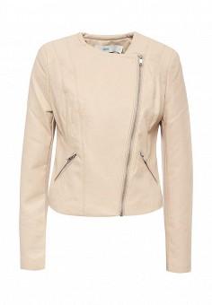 Куртка кожаная, Befree, цвет: бежевый. Артикул: BE031EWPKB12. Женская одежда / Верхняя одежда / Кожаные куртки