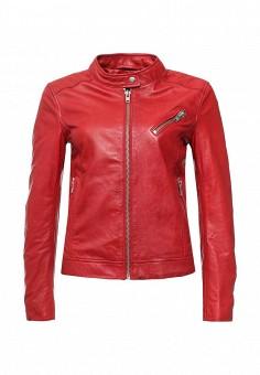 Куртка кожаная, Blouson, цвет: красный. Артикул: BL033EWQGN29. Женская одежда / Верхняя одежда / Кожаные куртки
