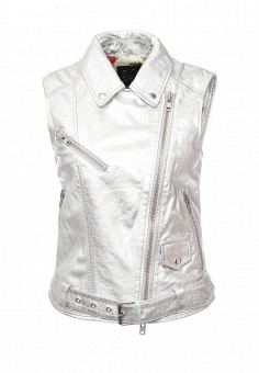 Жилет кожаный, Blouson, цвет: серебряный. Артикул: BL033EWQGN36. Премиум