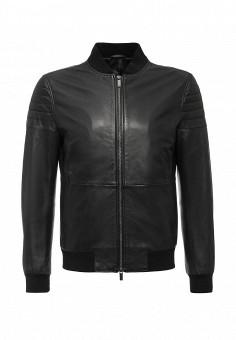 Куртка кожаная, Boss, цвет: черный. Артикул: BO246EMIVL88. Мужская одежда / Верхняя одежда / Кожаные куртки