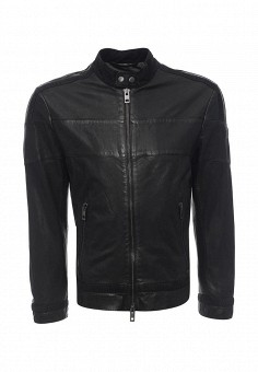 Куртка кожаная, Boss Orange, цвет: черный. Артикул: BO456EMNOM98. Мужская одежда / Верхняя одежда / Кожаные куртки