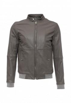 Куртка кожаная, Calvin Klein Jeans, цвет: серый. Артикул: CA939EMNZX28. Мужская одежда / Верхняя одежда / Кожаные куртки