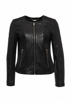 Куртка кожаная, Cortefiel, цвет: черный. Артикул: CO046EWRCS62. Женская одежда / Верхняя одежда / Кожаные куртки