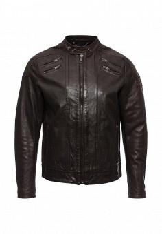 Куртка кожаная, Diesel, цвет: коричневый. Артикул: DI303EMLHH04. Мужская одежда / Верхняя одежда / Кожаные куртки