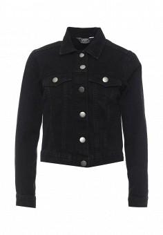 Куртка джинсовая, Dorothy Perkins, цвет: черный. Артикул: DO005EWSCL94. Женская одежда / Верхняя одежда / Джинсовые куртки
