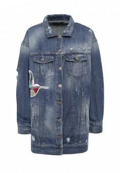 Куртка джинсовая, Fornarina, цвет: синий. Артикул: FO019EWRSM43. Женская одежда / Верхняя одежда / Джинсовые куртки