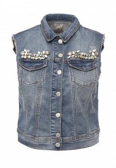 Жилет джинсовый, Guess Jeans, цвет: синий. Артикул: GU644EWPRH94. Женская одежда / Верхняя одежда / Жилеты / Джинсовые жилеты