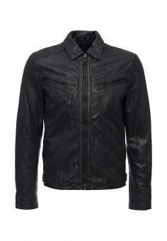 Куртка кожаная, Mango Man, цвет: синий. Артикул: HE002EMIXM67. Мужская одежда / Верхняя одежда / Кожаные куртки