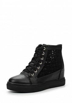 Кеды на танкетке, Ideal, цвет: черный. Артикул: ID005AWHML50. Женская обувь / Кроссовки и кеды / Кеды