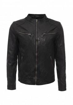 Куртка кожаная, Jack & Jones, цвет: черный. Артикул: JA391EMKFG26. Мужская одежда / Верхняя одежда / Кожаные куртки