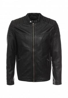 Куртка кожаная, Jack & Jones, цвет: черный. Артикул: JA391EMOPO81. Мужская одежда / Верхняя одежда / Кожаные куртки