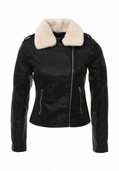 Куртка кожаная, Jennyfer, цвет: черный. Артикул: JE008EWOYH72. Женская одежда / Верхняя одежда / Косухи