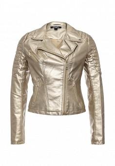 Куртка кожаная, Jennyfer, цвет: золотой. Артикул: JE008EWSYV71. Женская одежда / Верхняя одежда / Кожаные куртки
