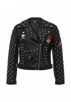 Куртка кожаная, Jennyfer, цвет: черный. Артикул: JE008EWSYV74. Женская одежда / Верхняя одежда / Косухи