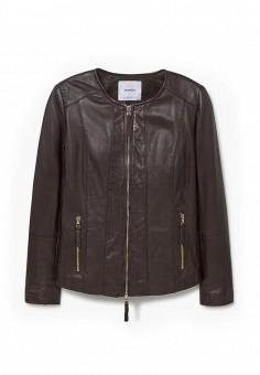 Куртка, Mango, цвет: коричневый. Артикул: MA002EWJPA40. Женская одежда / Верхняя одежда / Кожаные куртки