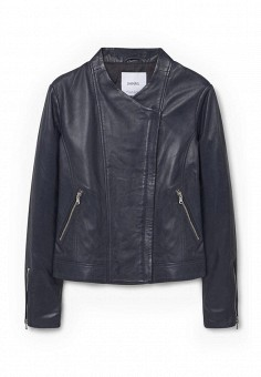 Куртка кожаная, Mango, цвет: синий. Артикул: MA002EWJPA47. Женская одежда / Верхняя одежда / Кожаные куртки