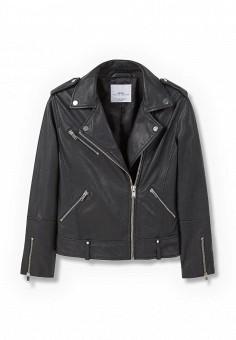 Куртка кожаная, Mango, цвет: черный. Артикул: MA002EWJWC72. Женская одежда / Верхняя одежда / Кожаные куртки