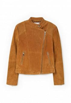 Куртка кожаная, Mango, цвет: коричневый. Артикул: MA002EWLKC50. Женская одежда / Верхняя одежда / Кожаные куртки
