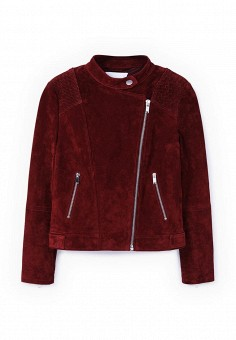 Куртка, Mango, цвет: бордовый. Артикул: MA002EWLKD81. Женская одежда / Верхняя одежда / Кожаные куртки