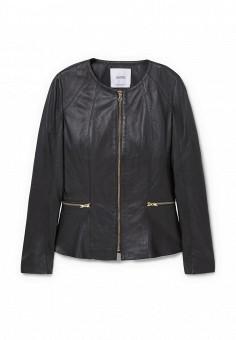 Куртка кожаная, Mango, цвет: черный. Артикул: MA002EWLKE97. Женская одежда / Верхняя одежда / Кожаные куртки