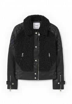 Куртка кожаная, Mango, цвет: черный. Артикул: MA002EWLVE15. Женская одежда / Верхняя одежда / Кожаные куртки