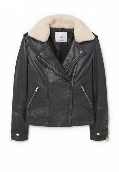 Куртка кожаная, Mango, цвет: черный. Артикул: MA002EWMJT87. Женская одежда / Верхняя одежда / Кожаные куртки