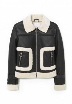 Куртка кожаная, Mango, цвет: черный. Артикул: MA002EWMTV12. Женская одежда / Верхняя одежда / Кожаные куртки