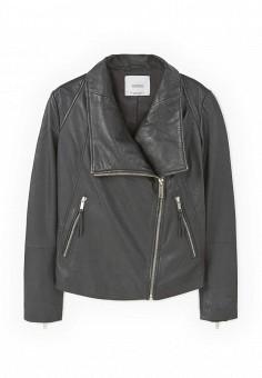 Куртка кожаная, Mango, цвет: черный. Артикул: MA002EWOMS78. Женская одежда / Верхняя одежда / Косухи