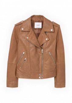 Куртка кожаная, Mango, цвет: коричневый. Артикул: MA002EWOMS94. Женская одежда / Верхняя одежда / Косухи