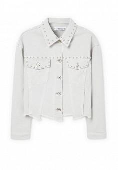 Куртка джинсовая, Mango, цвет: серый. Артикул: MA002EWQOM98. Женская одежда / Верхняя одежда / Джинсовые куртки
