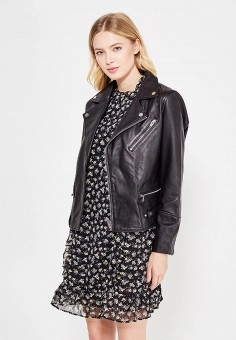 Куртка кожаная, Mango, цвет: черный. Артикул: MA002EWTLG74. Женская одежда / Верхняя одежда / Косухи