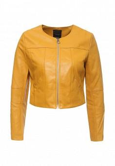Куртка кожаная, Manosque, цвет: желтый. Артикул: MA157EWRKR12. Женская одежда / Верхняя одежда / Кожаные куртки