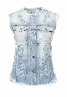 Жилет джинсовый, Met, цвет: голубой. Артикул: ME486EWQAM38. Женская одежда / Верхняя одежда / Жилеты
