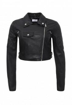 Куртка кожаная, Motivi, цвет: черный. Артикул: MO042EWRCH03. Женская одежда / Верхняя одежда / Косухи