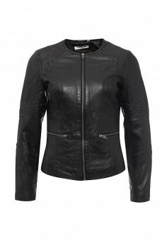 Куртка кожаная, Naf Naf, цвет: черный. Артикул: NA018EWPTB46. Женская одежда / Верхняя одежда / Кожаные куртки