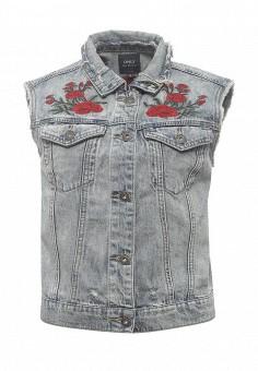Жилет джинсовый, Only, цвет: голубой. Артикул: ON380EWODR12. Женская одежда / Верхняя одежда / Жилеты