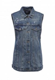 Жилет джинсовый, Only, цвет: синий. Артикул: ON380EWSXR40. Женская одежда / Верхняя одежда / Жилеты