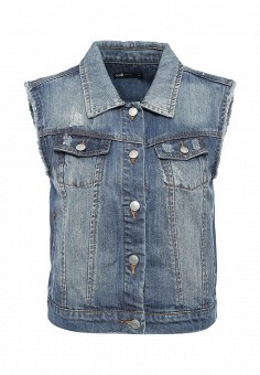 Жилет джинсовый, oodji, цвет: синий. Артикул: OO001EWLLC44. Женская одежда / Верхняя одежда / Жилеты
