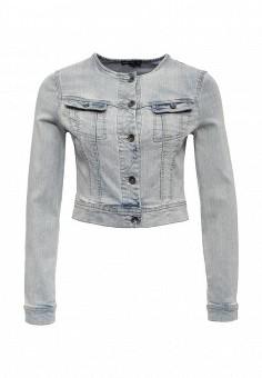 Куртка джинсовая, oodji, цвет: голубой. Артикул: OO001EWLXC26. Женская одежда / Верхняя одежда / Джинсовые куртки