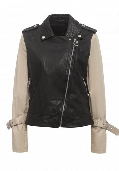 Куртка кожаная, Pinko, цвет: черный. Артикул: PI754EWOID38. Женская одежда / Верхняя одежда / Кожаные куртки