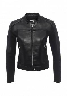 Куртка кожаная, Pinko, цвет: черный. Артикул: PI754EWOIE44. Женская одежда / Верхняя одежда / Кожаные куртки