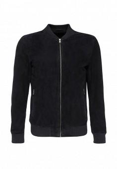 Куртка кожаная, Selected Homme, цвет: синий. Артикул: SE392EMJVY53. Мужская одежда / Верхняя одежда / Кожаные куртки