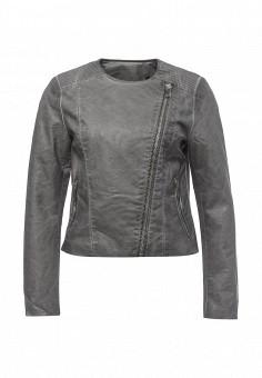 Куртка кожаная, Silvian Heach, цвет: серый. Артикул: SI386EWRHW12. Женская одежда / Верхняя одежда / Косухи