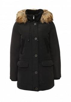 Пуховик, Springfield, цвет: черный. Артикул: SP014EWKLG56. Женская одежда / Верхняя одежда / Пуховики и зимние куртки