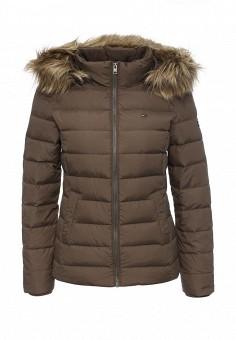 Пуховик, Tommy Hilfiger Denim, цвет: коричневый. Артикул: TO013EWKBT77. Женская одежда